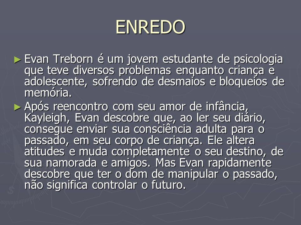 ENREDO Evan Treborn é um jovem estudante de psicologia que teve diversos problemas enquanto criança e adolescente, sofrendo de desmaios e bloqueios de