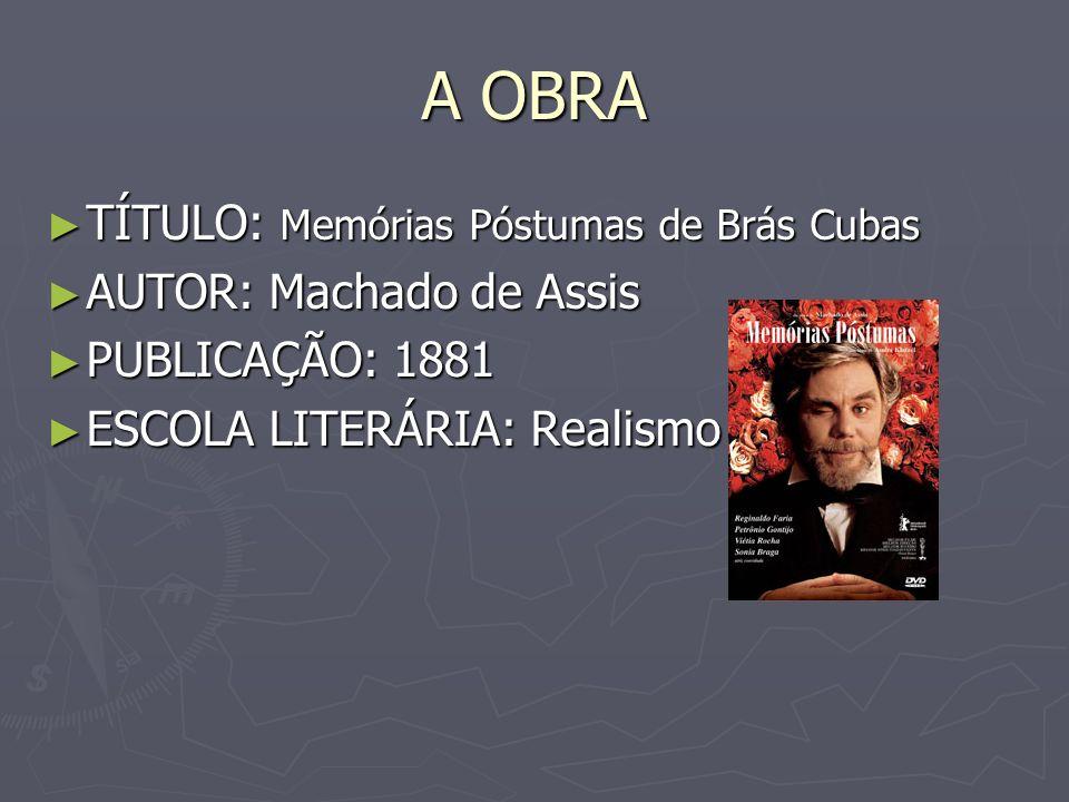 A OBRA TÍTULO: Memórias Póstumas de Brás Cubas TÍTULO: Memórias Póstumas de Brás Cubas AUTOR: Machado de Assis AUTOR: Machado de Assis PUBLICAÇÃO: 188