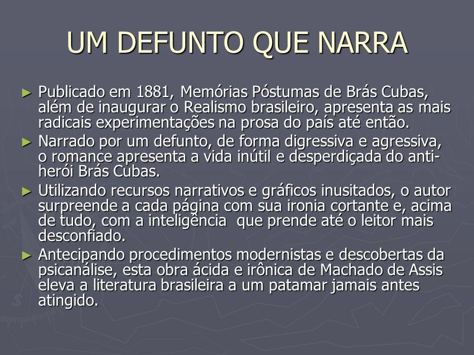 UM DEFUNTO QUE NARRA Publicado em 1881, Memórias Póstumas de Brás Cubas, além de inaugurar o Realismo brasileiro, apresenta as mais radicais experimen