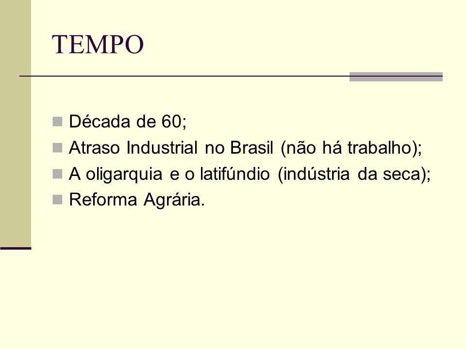 TEMPO Década de 60; Atraso Industrial no Brasil (não há trabalho); A oligarquia e o latifúndio (indústria da seca); Reforma Agrária.