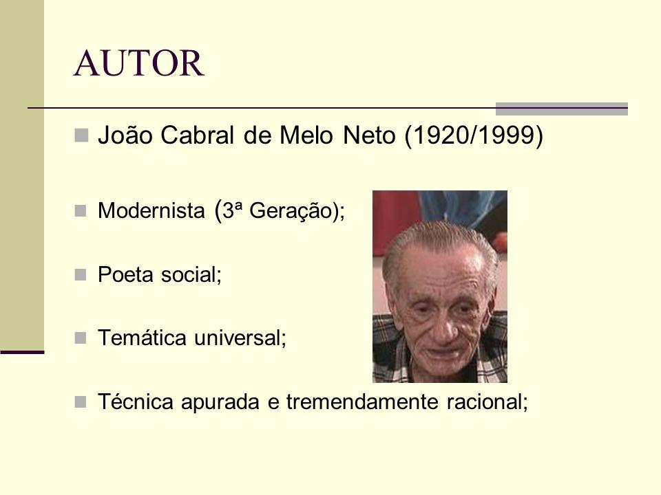AUTOR João Cabral de Melo Neto (1920/1999) Modernista ( 3ª Geração); Poeta social; Temática universal; Técnica apurada e tremendamente racional;
