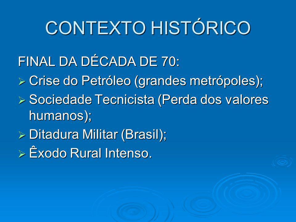 CONTEXTO HISTÓRICO FINAL DA DÉCADA DE 70: Crise do Petróleo (grandes metrópoles); Crise do Petróleo (grandes metrópoles); Sociedade Tecnicista (Perda