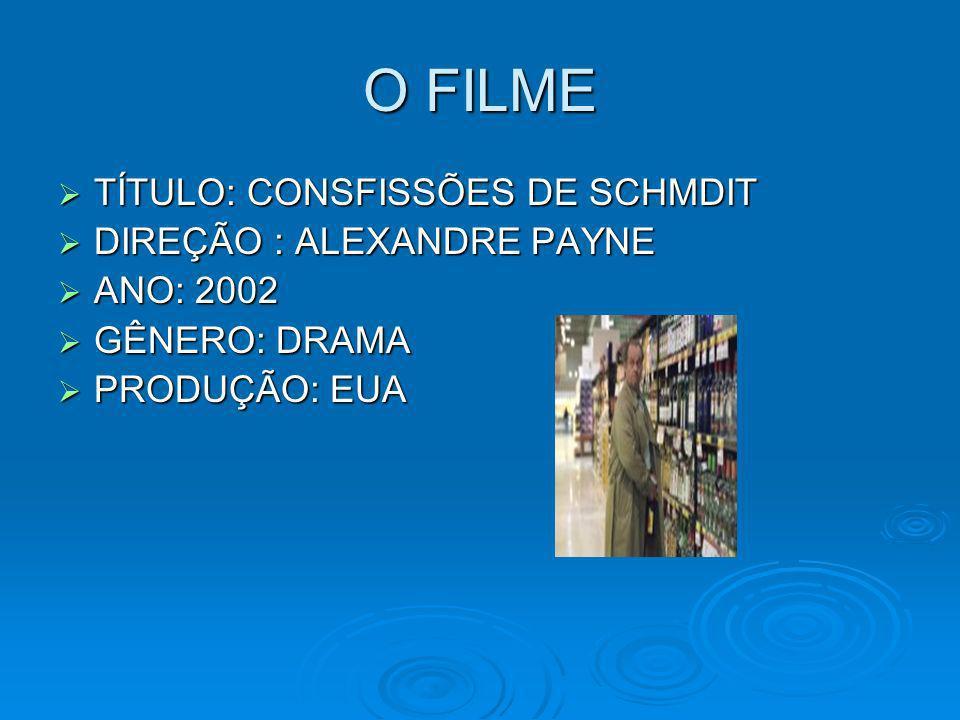 O FILME TÍTULO: CONSFISSÕES DE SCHMDIT TÍTULO: CONSFISSÕES DE SCHMDIT DIREÇÃO : ALEXANDRE PAYNE DIREÇÃO : ALEXANDRE PAYNE ANO: 2002 ANO: 2002 GÊNERO: