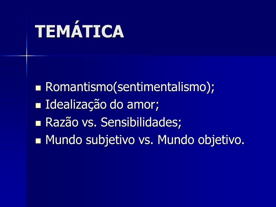 TEMÁTICA Romantismo(sentimentalismo); Romantismo(sentimentalismo); Idealização do amor; Idealização do amor; Razão vs. Sensibilidades; Razão vs. Sensi