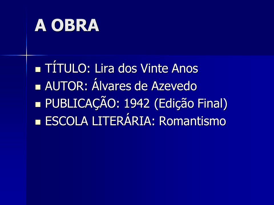 O AUTOR Manuel Antônio Álvares de Azevedo (1831 1852) foi um escritor da segunda geração romântica (Ultra-Romântica, Byroniana ou Mal-do-século), contista, dramaturgo, poeta e ensaísta brasileiro, autor de Noite na Taverna.