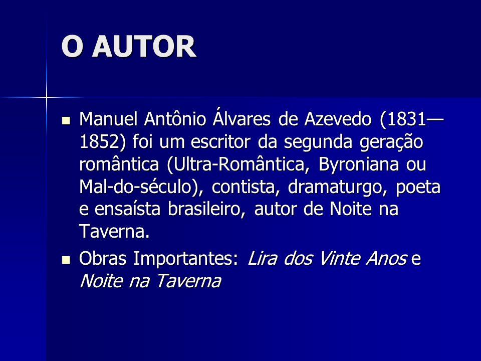 O AUTOR Manuel Antônio Álvares de Azevedo (1831 1852) foi um escritor da segunda geração romântica (Ultra-Romântica, Byroniana ou Mal-do-século), cont