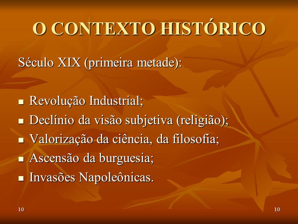 10 O CONTEXTO HISTÓRICO Século XIX (primeira metade): Revolução Industrial; Revolução Industrial; Declínio da visão subjetiva (religião); Declínio da