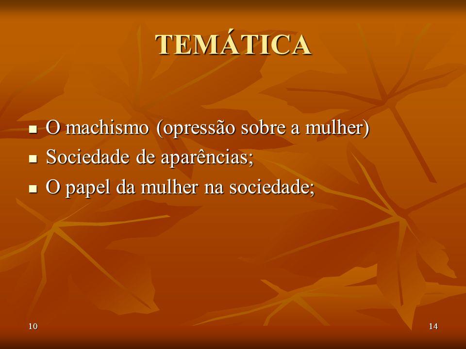 1014 TEMÁTICA O machismo (opressão sobre a mulher) O machismo (opressão sobre a mulher) Sociedade de aparências; Sociedade de aparências; O papel da m