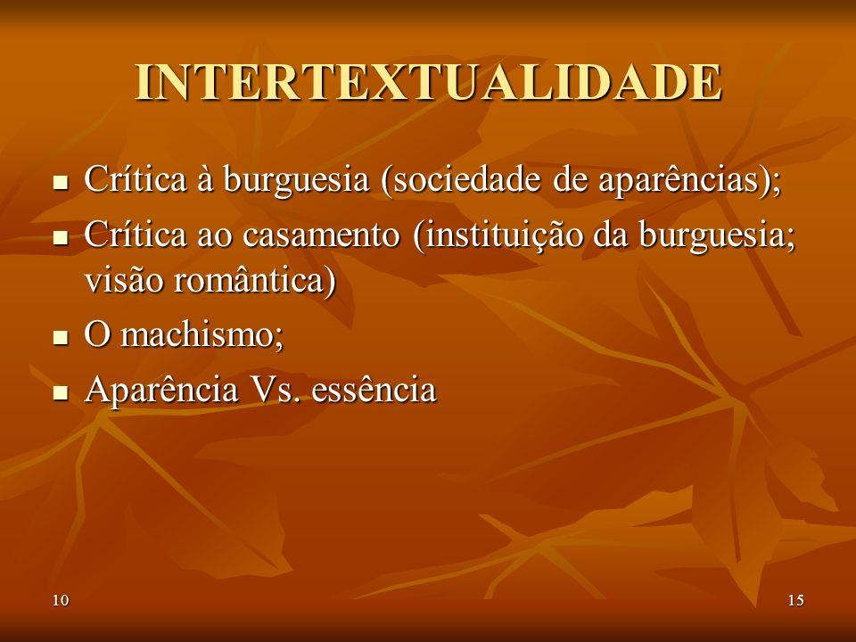 1015 INTERTEXTUALIDADE Crítica à burguesia (sociedade de aparências); Crítica à burguesia (sociedade de aparências); Crítica ao casamento (instituição