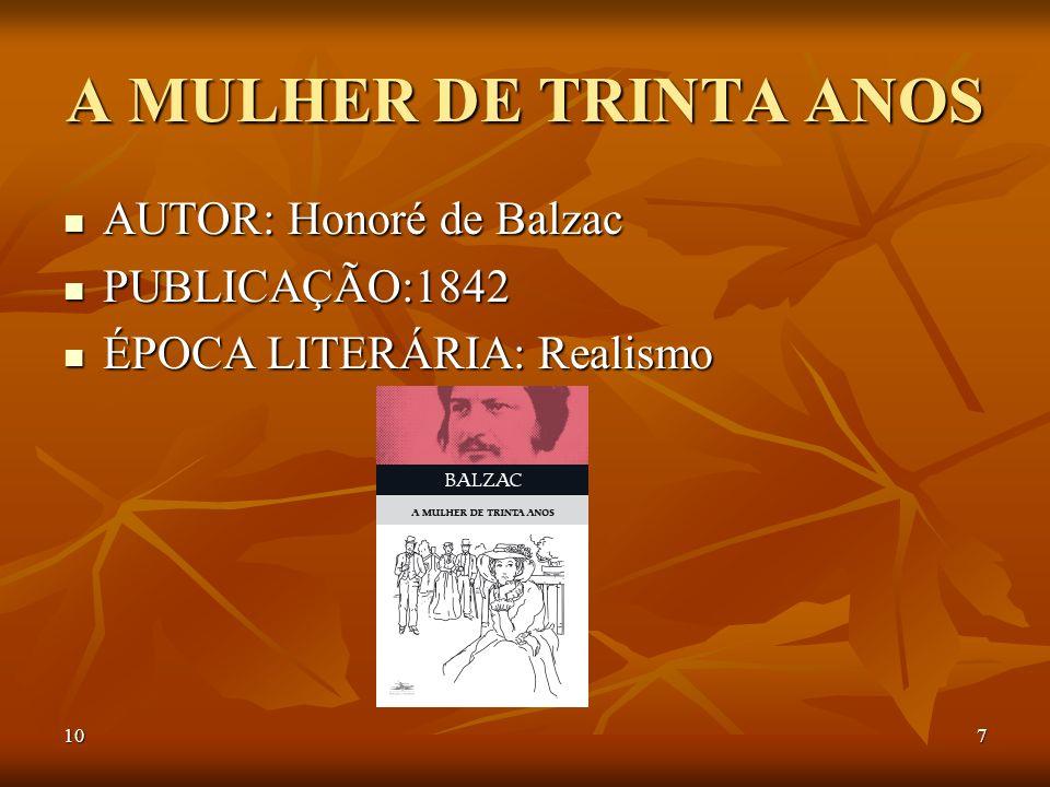 107 A MULHER DE TRINTA ANOS AUTOR: Honoré de Balzac AUTOR: Honoré de Balzac PUBLICAÇÃO:1842 PUBLICAÇÃO:1842 ÉPOCA LITERÁRIA: Realismo ÉPOCA LITERÁRIA: