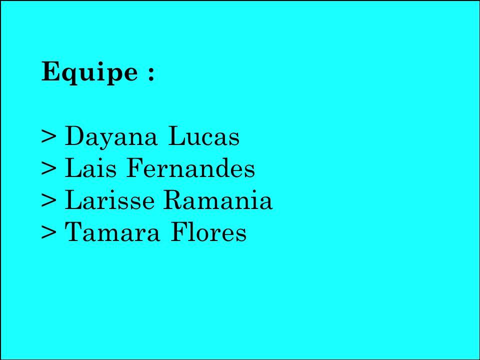 Equipe : > Dayana Lucas > Lais Fernandes > Larisse Ramania > Tamara Flores