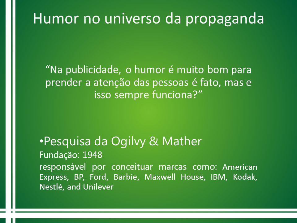 Humor no universo da propaganda Na publicidade, o humor é muito bom para prender a atenção das pessoas é fato, mas e isso sempre funciona? Pesquisa da