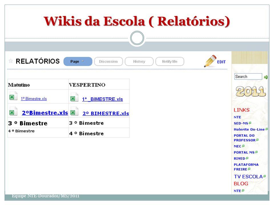Wikis da Escola ( Relatórios) Equipe NTE-Dourados/MS/2011
