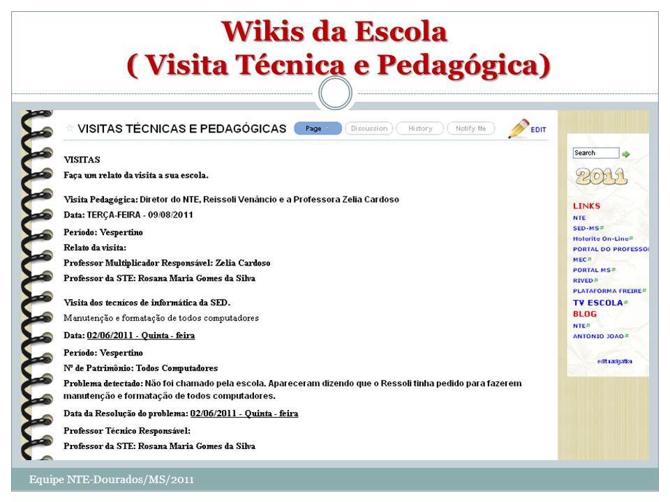 Wikis da Escola ( Visita Técnica e Pedagógica) Equipe NTE-Dourados/MS/2011