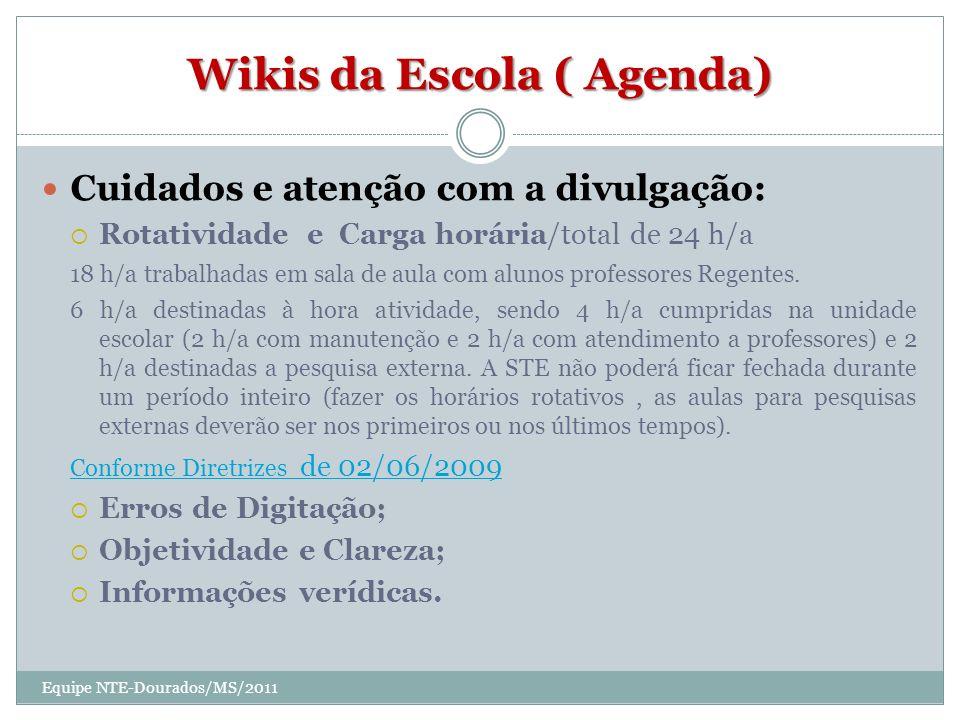 Wikis da Escola ( Agenda) Cuidados e atenção com a divulgação: Rotatividade e Carga horária/total de 24 h/a 18 h/a trabalhadas em sala de aula com alunos professores Regentes.