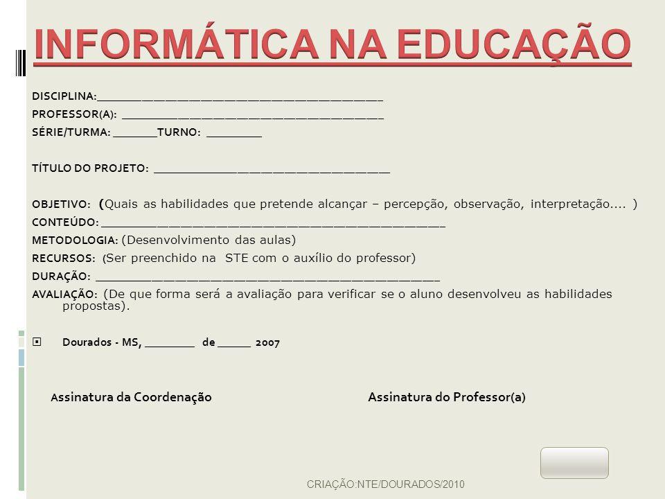 Abrir Pastas/Salvar atividades identificando a disciplina (verifique a organização a seguir):