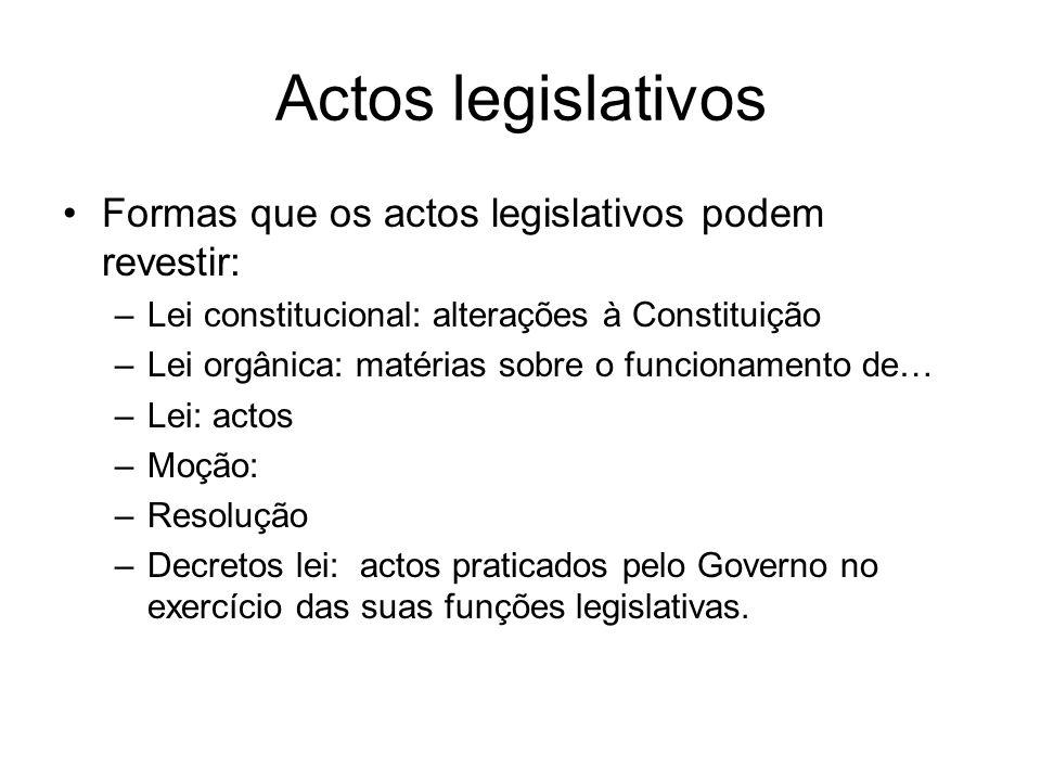 Actos legislativos Formas que os actos legislativos podem revestir: –Lei constitucional: alterações à Constituição –Lei orgânica: matérias sobre o fun