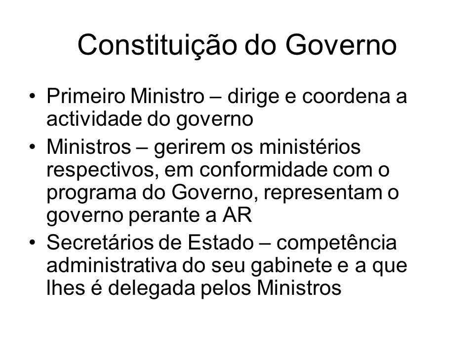 Constituição do Governo Primeiro Ministro – dirige e coordena a actividade do governo Ministros – gerirem os ministérios respectivos, em conformidade