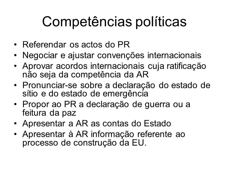 Competências políticas Referendar os actos do PR Negociar e ajustar convenções internacionais Aprovar acordos internacionais cuja ratificação não seja