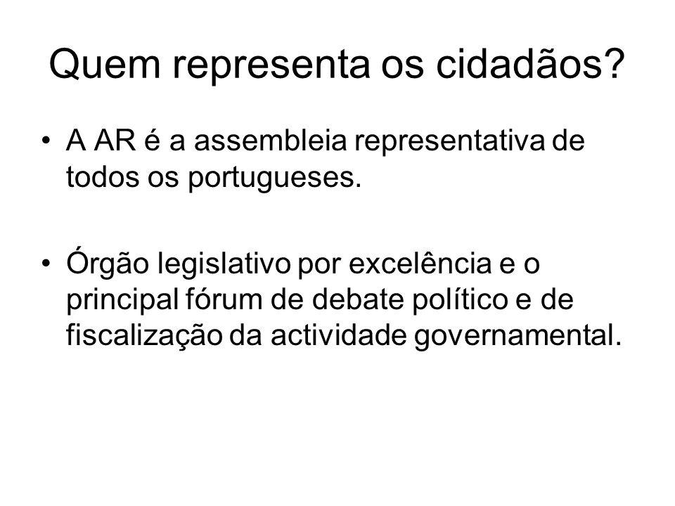 Quem representa os cidadãos? A AR é a assembleia representativa de todos os portugueses. Órgão legislativo por excelência e o principal fórum de debat