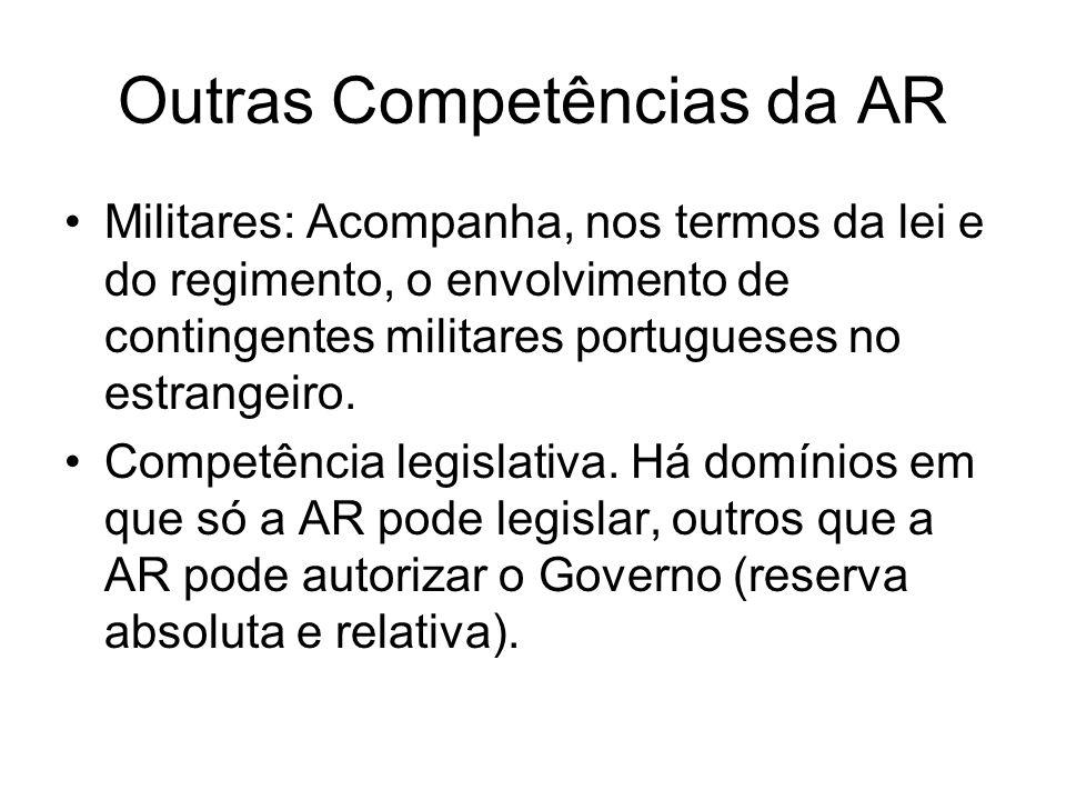 Outras Competências da AR Militares: Acompanha, nos termos da lei e do regimento, o envolvimento de contingentes militares portugueses no estrangeiro.