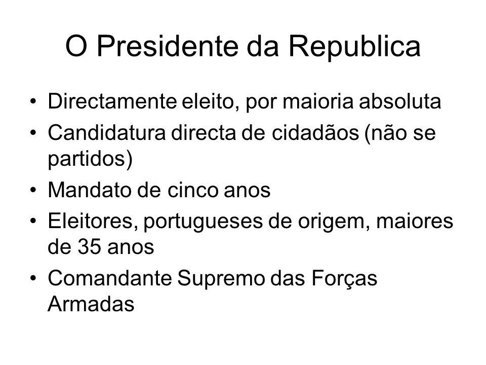O Presidente da Republica Directamente eleito, por maioria absoluta Candidatura directa de cidadãos (não se partidos) Mandato de cinco anos Eleitores, portugueses de origem, maiores de 35 anos Comandante Supremo das Forças Armadas