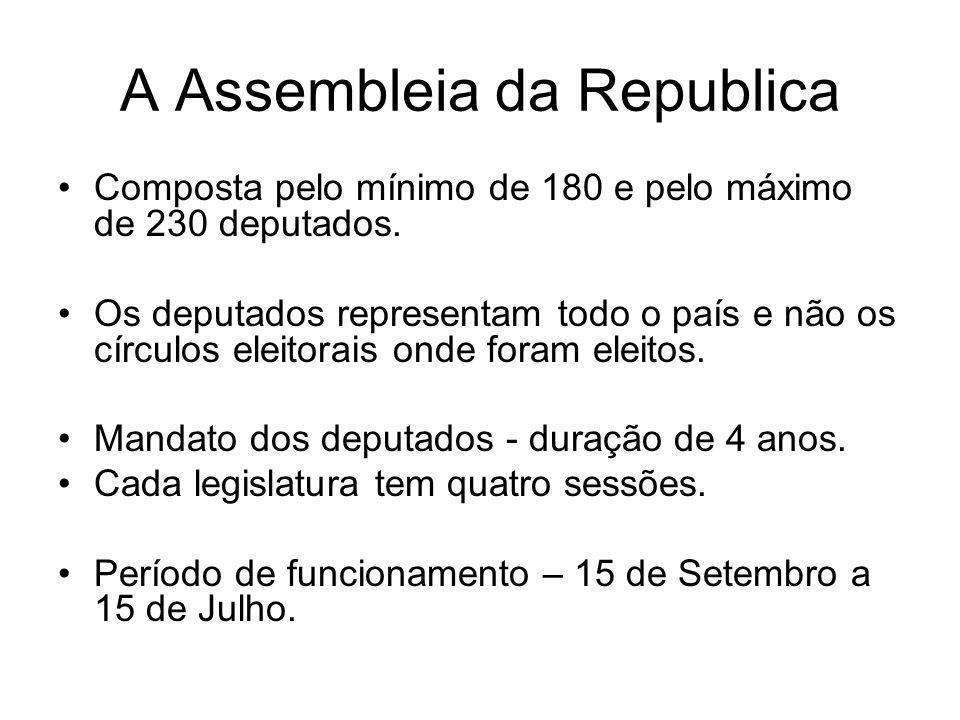 A Assembleia da Republica Composta pelo mínimo de 180 e pelo máximo de 230 deputados.
