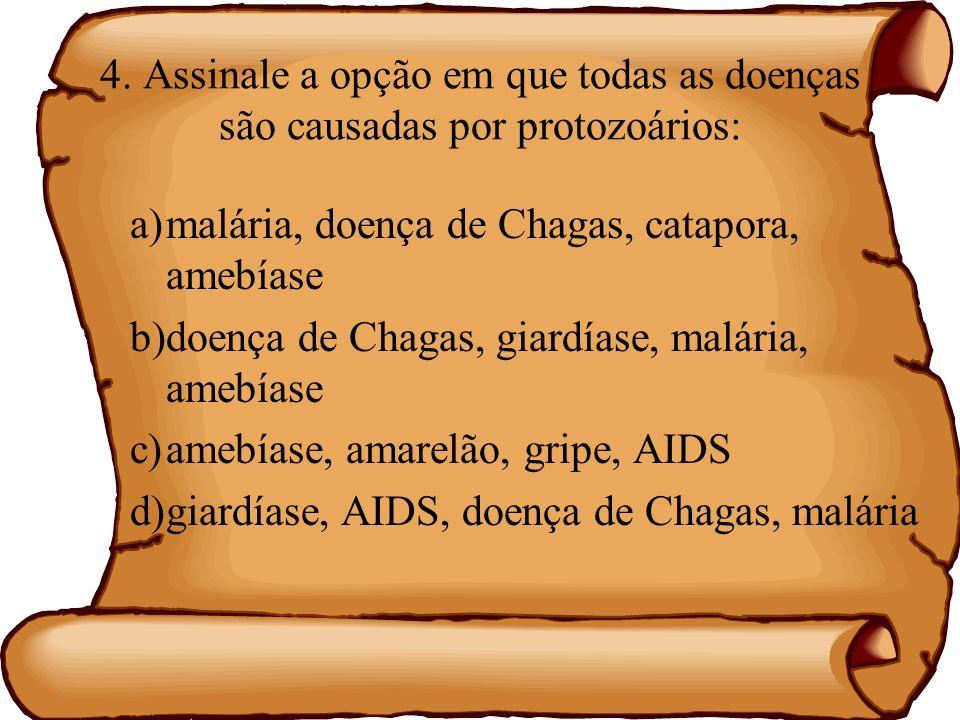 4. Assinale a opção em que todas as doenças são causadas por protozoários: a)malária, doença de Chagas, catapora, amebíase b)doença de Chagas, giardía