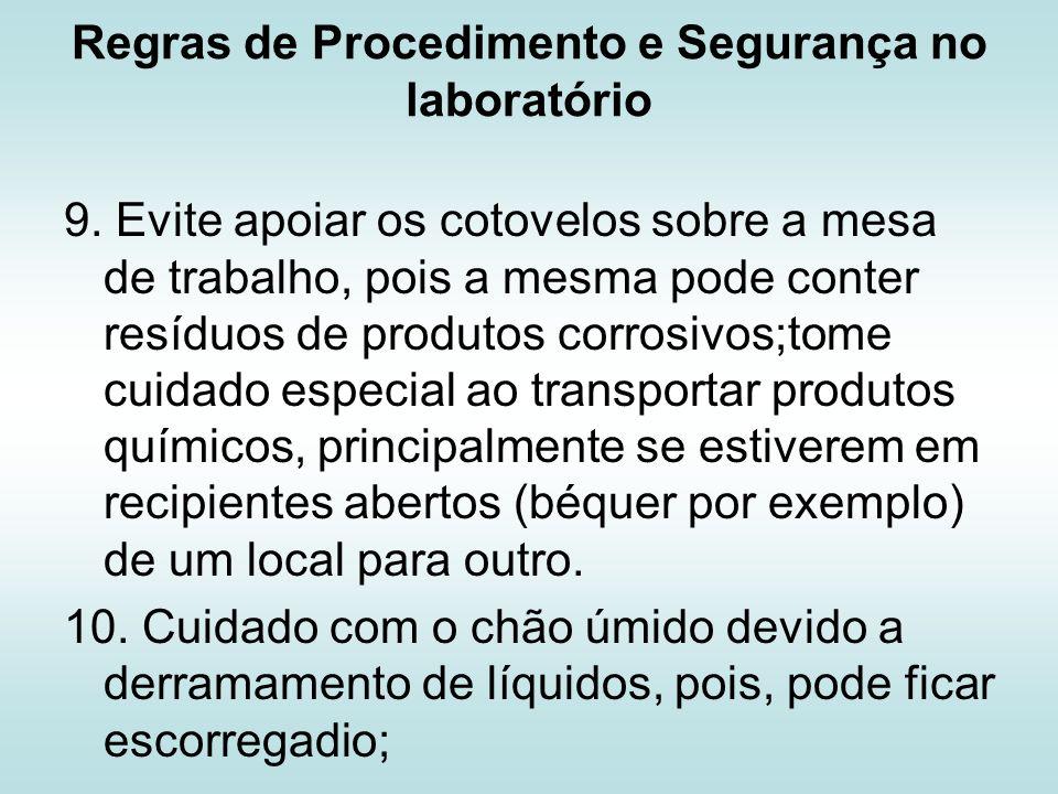 Regras de Procedimento e Segurança no laboratório 11.
