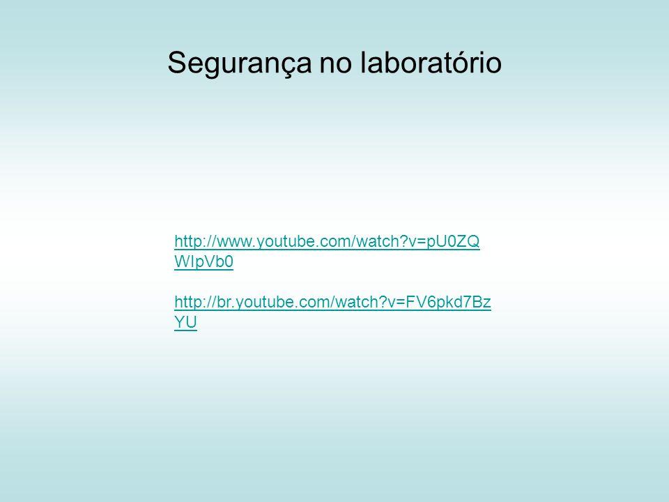 Segurança no laboratório http://www.youtube.com/watch?v=pU0ZQ WIpVb0 http://br.youtube.com/watch?v=FV6pkd7Bz YU