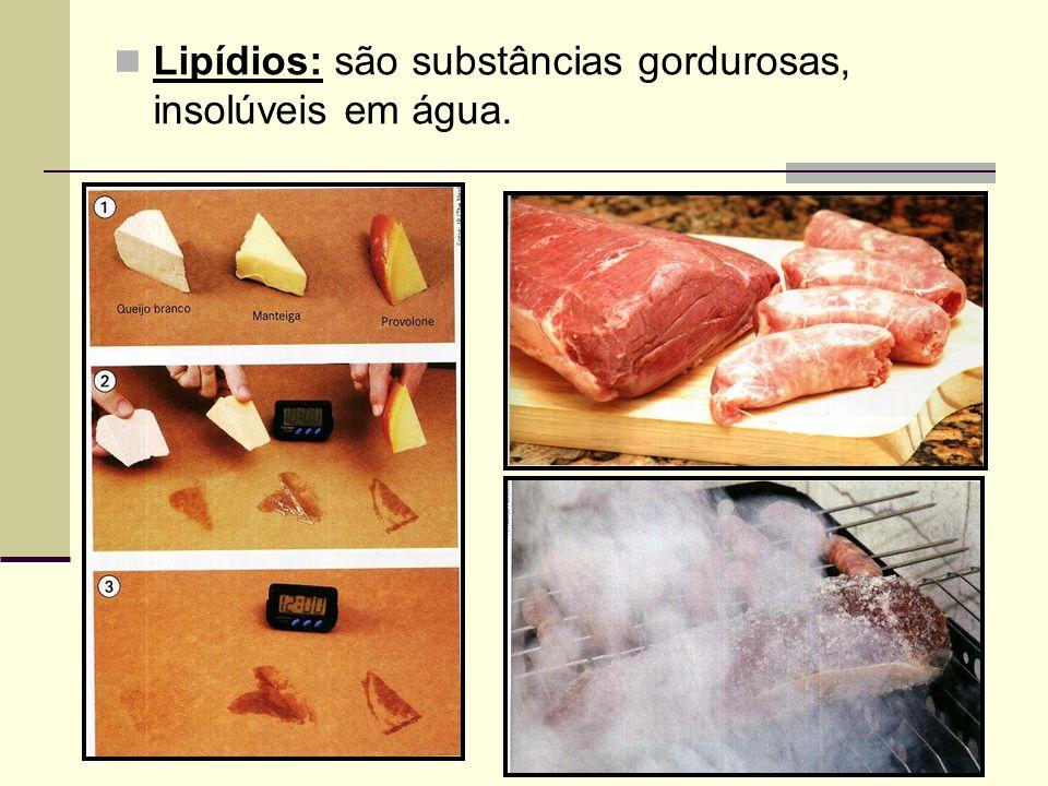 Lipídios: são substâncias gordurosas, insolúveis em água.