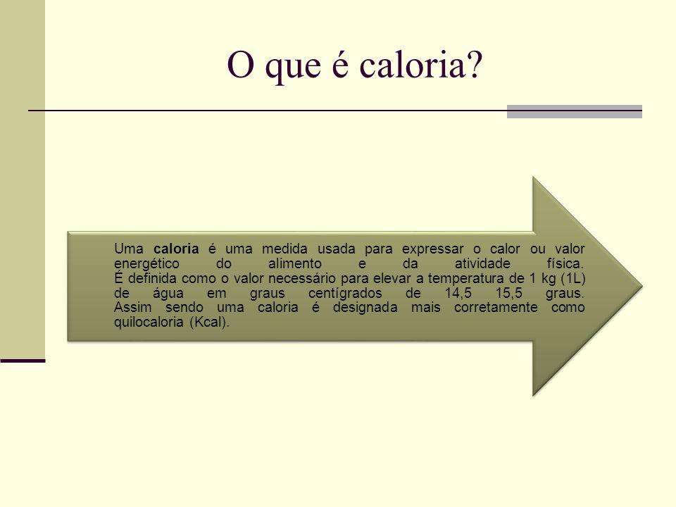 O que é caloria? Uma caloria é uma medida usada para expressar o calor ou valor energético do alimento e da atividade física. É definida como o valor