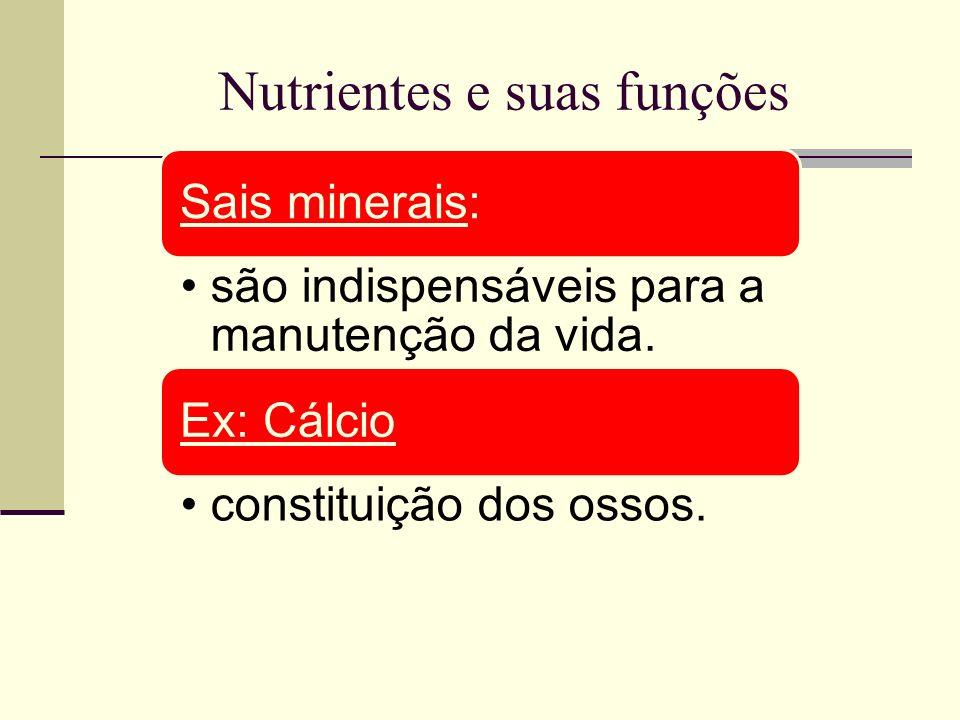Nutrientes e suas funções Sais minerais: são indispensáveis para a manutenção da vida. Ex: Cálcio constituição dos ossos.
