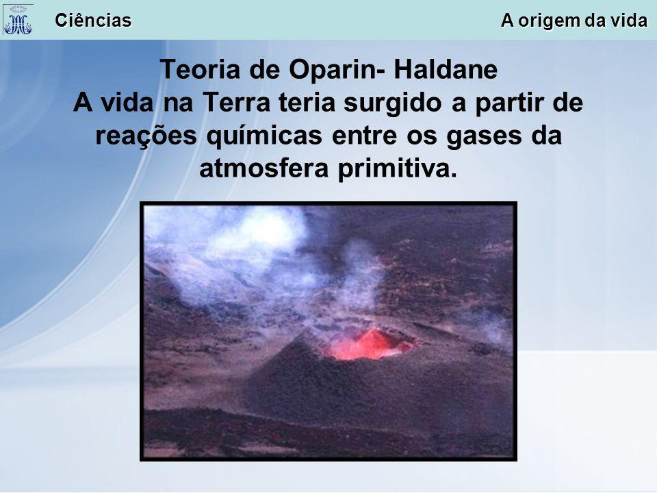 Teoria de Oparin- Haldane A vida na Terra teria surgido a partir de reações químicas entre os gases da atmosfera primitiva. Ciências A origem da vida