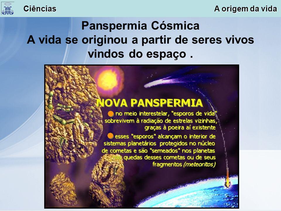 Panspermia Cósmica A vida se originou a partir de seres vivos vindos do espaço. Ciências A origem da vida Ciências A origem da vida