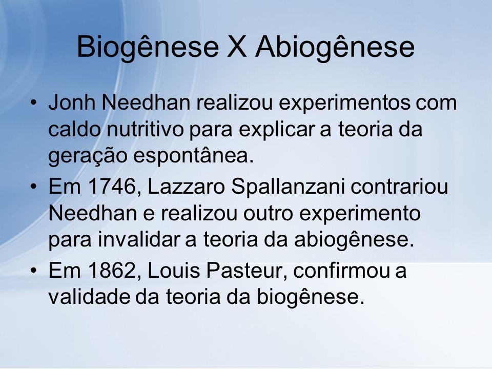 Biogênese X Abiogênese Jonh Needhan realizou experimentos com caldo nutritivo para explicar a teoria da geração espontânea. Em 1746, Lazzaro Spallanza