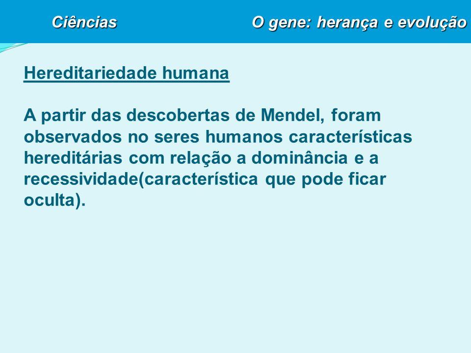 Hereditariedade humana A partir das descobertas de Mendel, foram observados no seres humanos características hereditárias com relação a dominância e a recessividade(característica que pode ficar oculta).