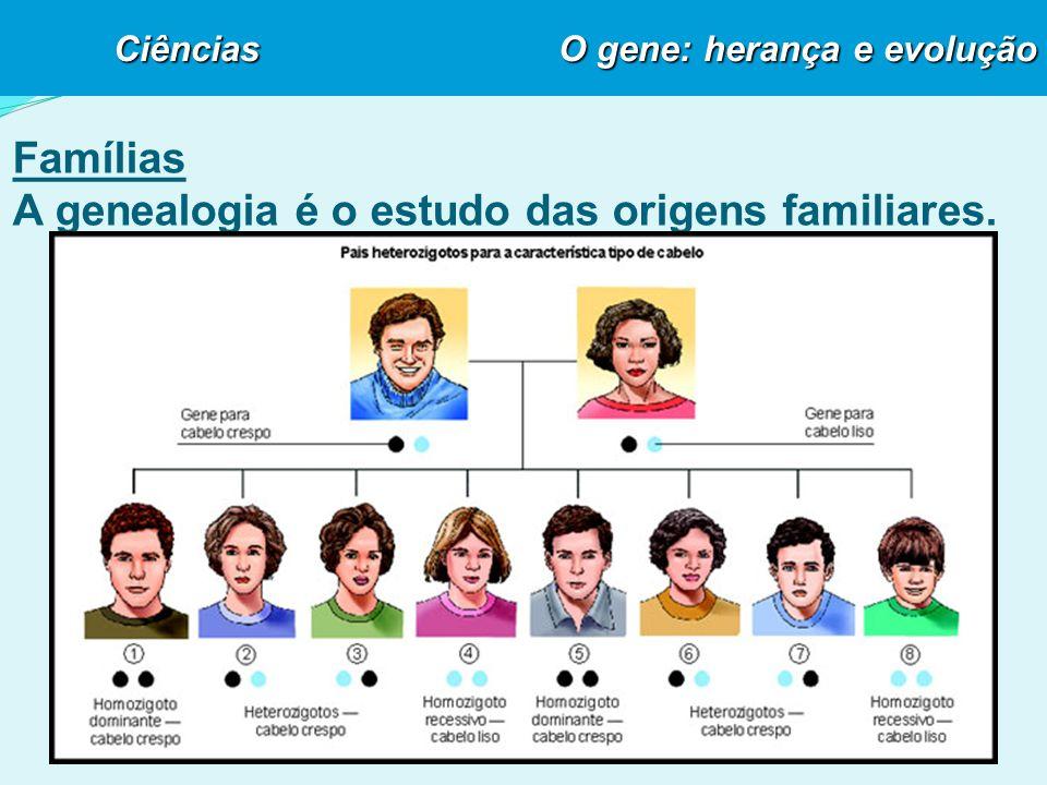 Famílias A genealogia é o estudo das origens familiares. Ciências O gene: herança e evolução