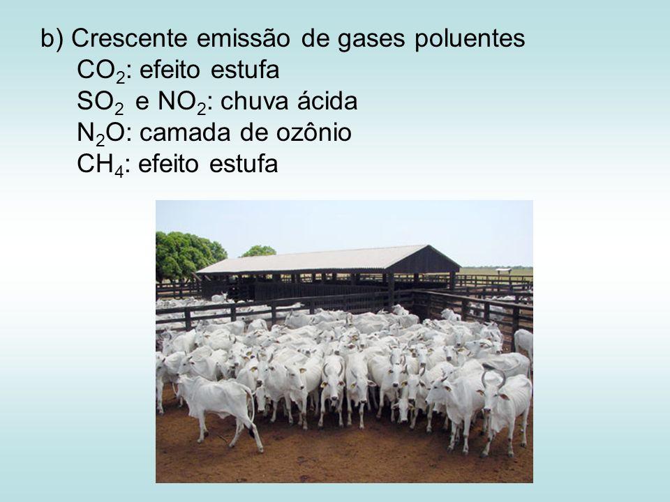 b) Crescente emissão de gases poluentes CO 2 : efeito estufa SO 2 e NO 2 : chuva ácida N 2 O: camada de ozônio CH 4 : efeito estufa