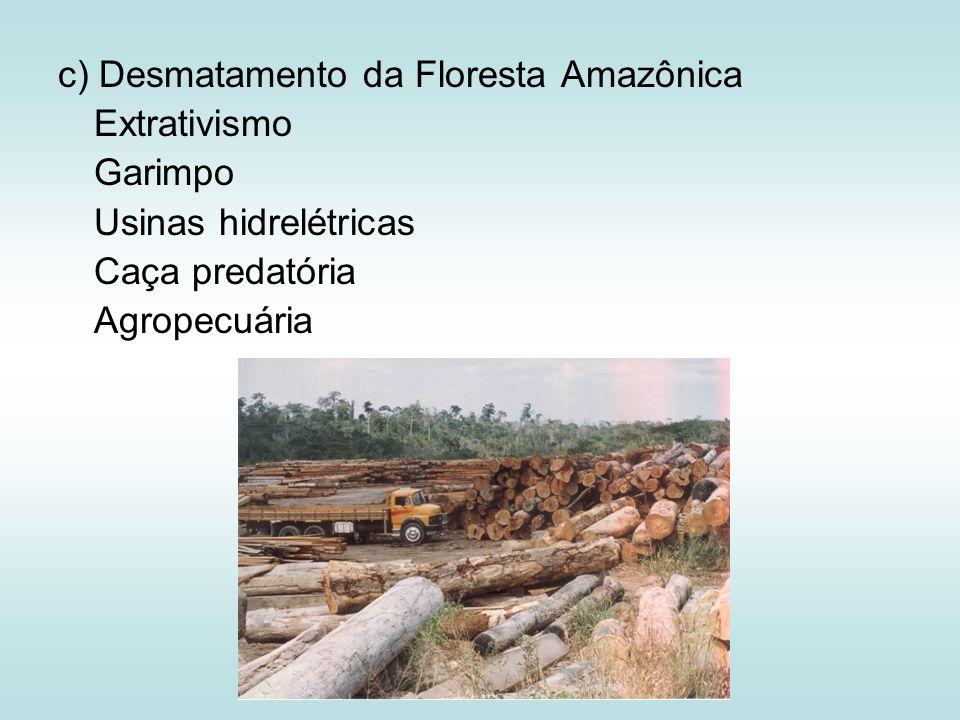 c) Desmatamento da Floresta Amazônica Extrativismo Garimpo Usinas hidrelétricas Caça predatória Agropecuária