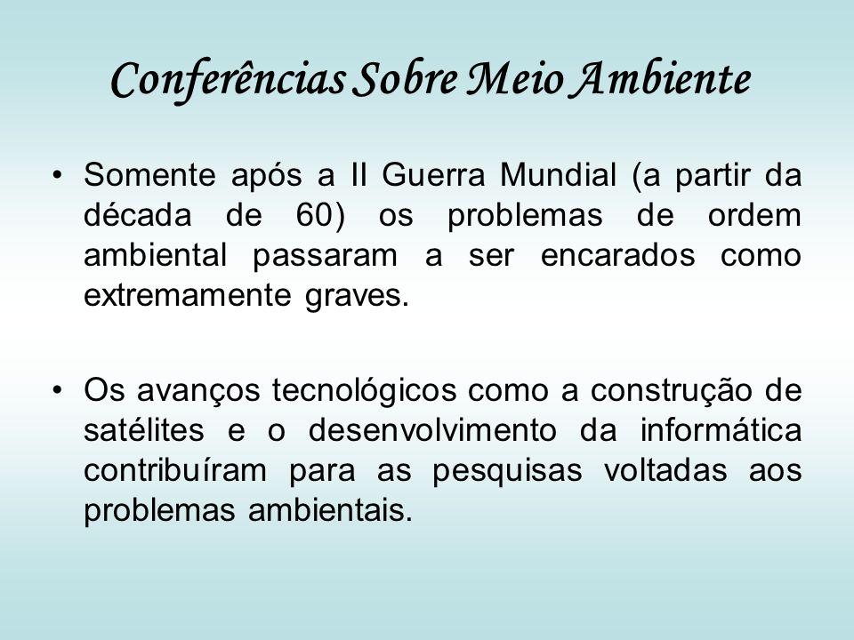 Conferências Sobre Meio Ambiente Somente após a II Guerra Mundial (a partir da década de 60) os problemas de ordem ambiental passaram a ser encarados