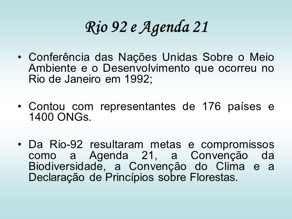 Rio 92 e Agenda 21 Conferência das Nações Unidas Sobre o Meio Ambiente e o Desenvolvimento que ocorreu no Rio de Janeiro em 1992; Contou com represent