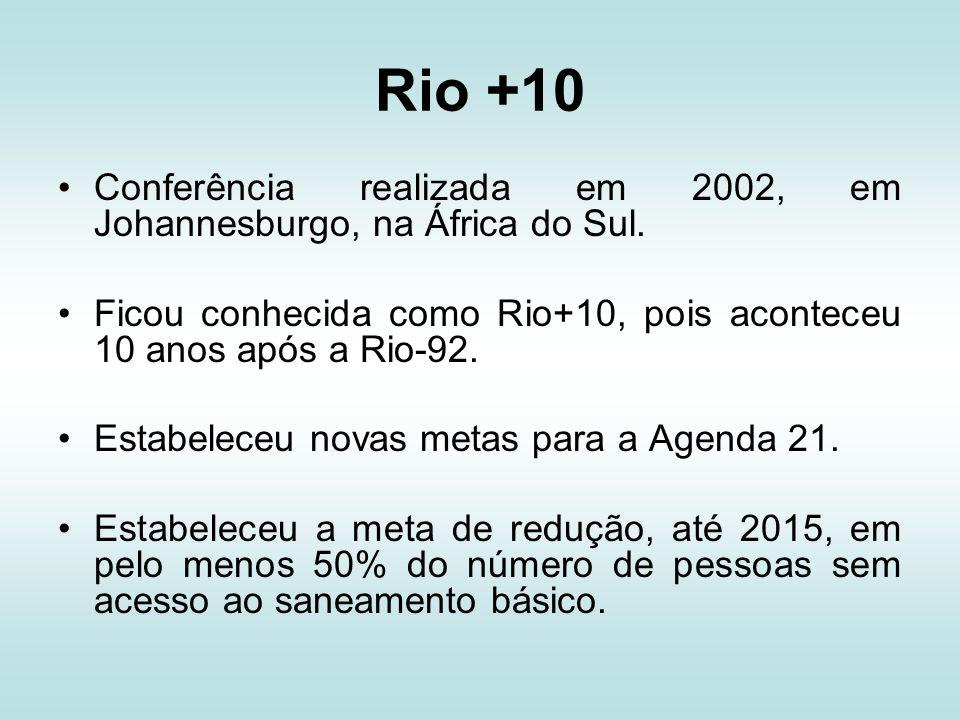 Rio +10 Conferência realizada em 2002, em Johannesburgo, na África do Sul. Ficou conhecida como Rio+10, pois aconteceu 10 anos após a Rio-92. Estabele