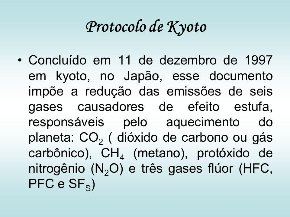 Protocolo de Kyoto Concluído em 11 de dezembro de 1997 em kyoto, no Japão, esse documento impõe a redução das emissões de seis gases causadores de efe