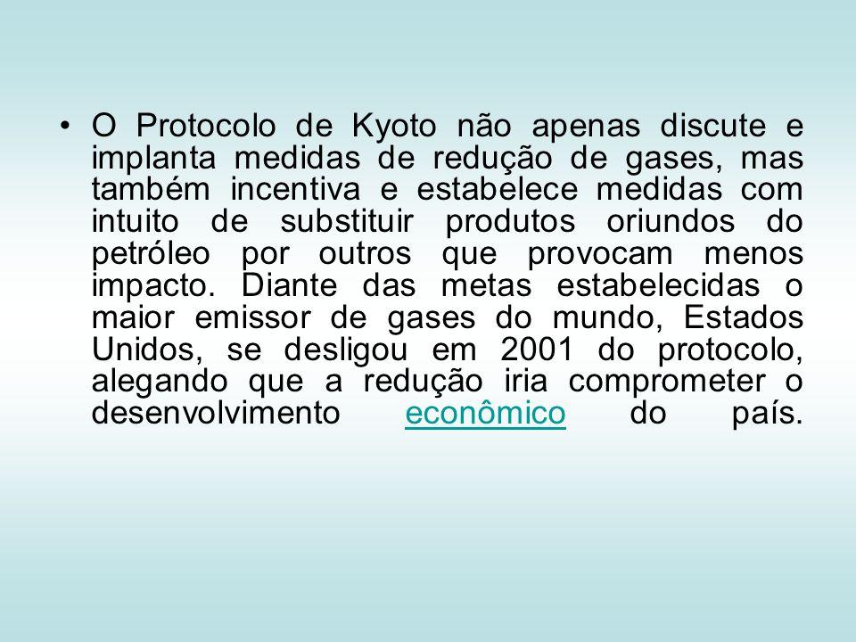 O Protocolo de Kyoto não apenas discute e implanta medidas de redução de gases, mas também incentiva e estabelece medidas com intuito de substituir pr