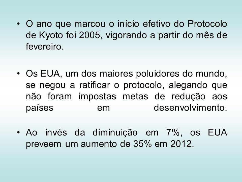 O ano que marcou o início efetivo do Protocolo de Kyoto foi 2005, vigorando a partir do mês de fevereiro. Os EUA, um dos maiores poluidores do mundo,