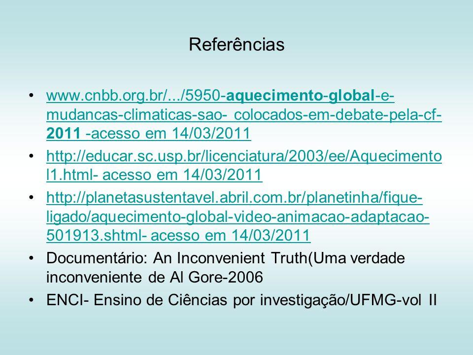 Referências www.cnbb.org.br/.../5950-aquecimento-global-e- mudancas-climaticas-sao- colocados-em-debate-pela-cf- 2011 -acesso em 14/03/2011www.cnbb.or