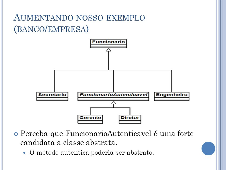 A UMENTANDO NOSSO EXEMPLO ( BANCO / EMPRESA ) Perceba que FuncionarioAutenticavel é uma forte candidata a classe abstrata.