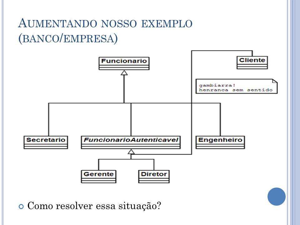 A UMENTANDO NOSSO EXEMPLO ( BANCO / EMPRESA ) Como resolver essa situação?