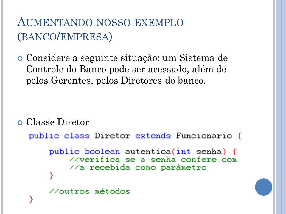 A UMENTANDO NOSSO EXEMPLO ( BANCO / EMPRESA ) Considere a seguinte situação: um Sistema de Controle do Banco pode ser acessado, além de pelos Gerentes, pelos Diretores do banco.